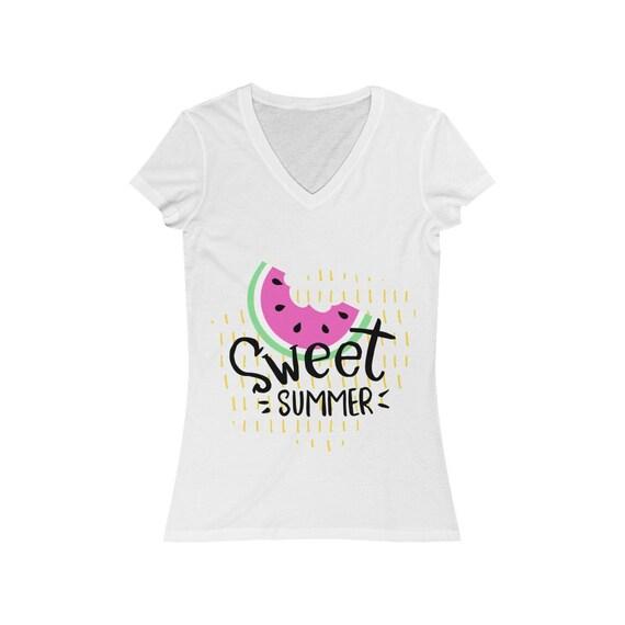 Women's Jersey Short Sleeve V-Neck Tee - Summer- summer gift idea, vacation, holidays, fun, birthday, travel, fly