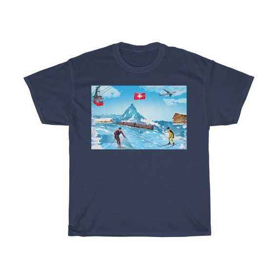 Unisex Heavy Cotton Tee - Swiss wear, alps, switzerland, schweiz, suisse, travel, vacation, Swiss abroad, Swiss-American, t-shirt