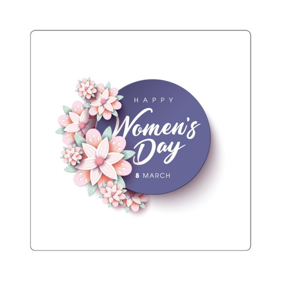 Square Stickers - woman, women, celebrate, march 8th, women's day, community, pride, march, fight, equality