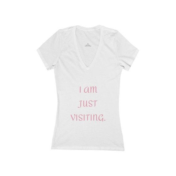 Women's Jersey Short Sleeve Deep V-Neck Tee - 182- summer gift idea, vacation, holidays, fun, birthday, travel, fly