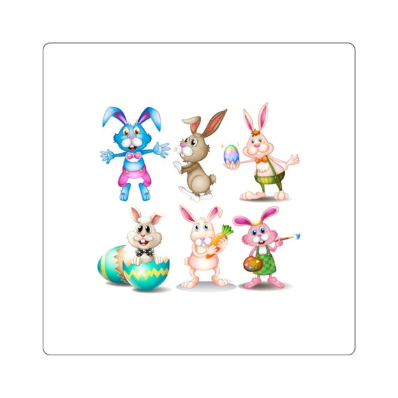 Square Stickers - easter, happy easter, bunny, rabbit, eggs, celebrate, family, fun, church, kids, children