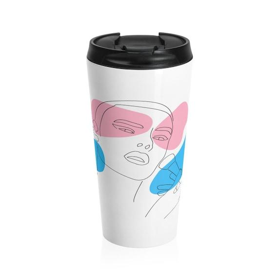 Stainless Steel Travel Mug - LGBTQ+, non-binary, fluid, gift idea, transgender, gender neutral
