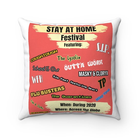 Spun Polyester Square Pillow - P13- I'm over 2020, zoomed out, covid, stay-at-home, corona