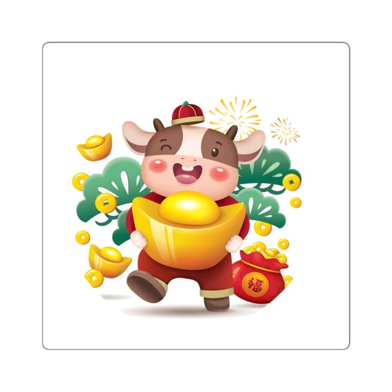 Square Stickers - Happy Chinese New Year, China, Taiwan, Vietnam, Korea, 2021, New Year, fun, gift, celebrate, family, year of the ox