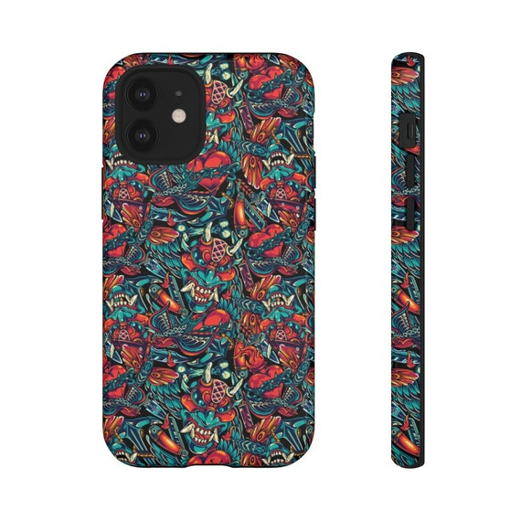 Iphone xs case iphone 11 case samsung case 20 Japanese Demon Tattoo Phone Case: Iphone cases biker phone case