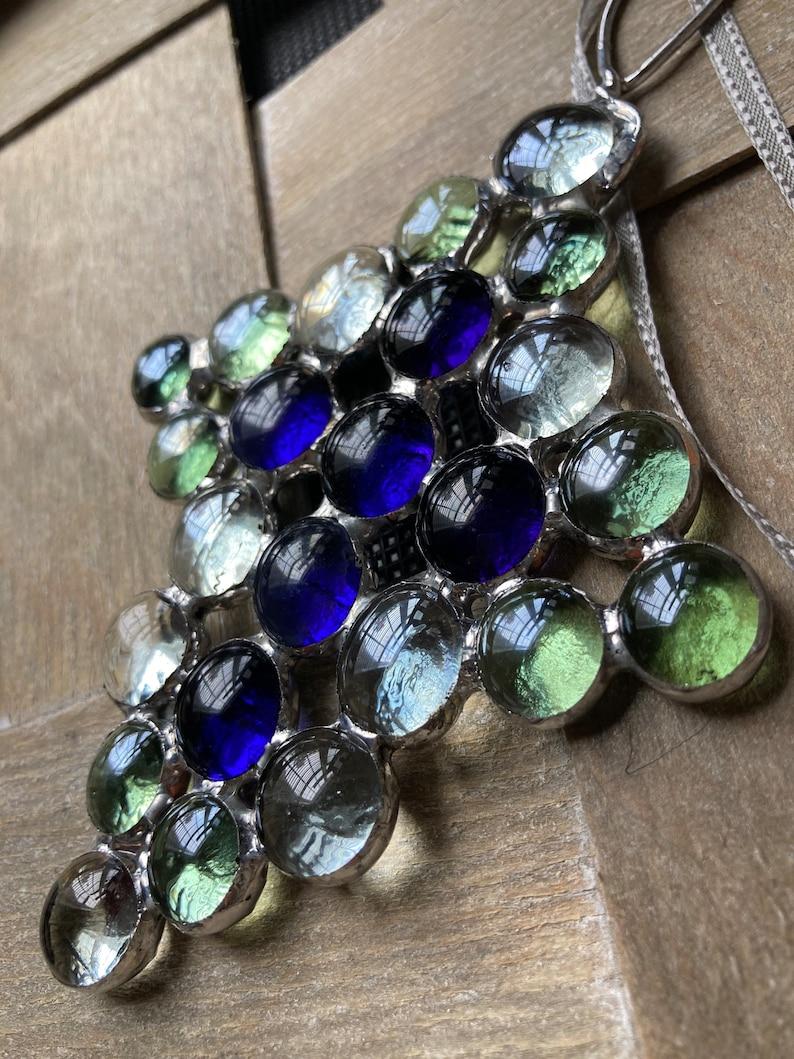 Green and Clear border Purple Cross Ornament Glass Sun Catcher Cross