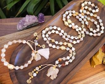 LUCKY Mala Necklace+Shamballa Bracelet 108 Gemstone Beads + Mala Bracelet, Rose Quartz Mala, Lucky Elephant, Empath Protection, Moonstone