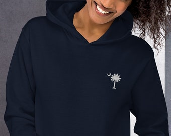 Carolina Palmetto White Embroidered Palmetto Tree Unisex Hoodie - Several Colors to choose from