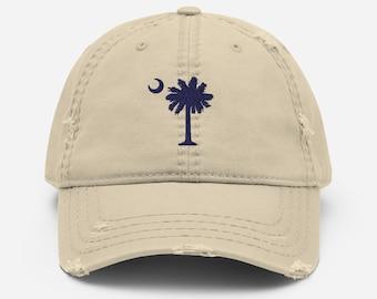 Carolina Palmetto Navy South Carolina Palmetto Tree and Moon - Distressed Dad Hat - Khaki, Gray, Black, or Navy