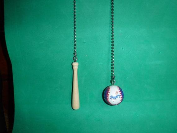 La Dodgers Baseball And Bat Ceiling Fan Pull Chain Set Etsy