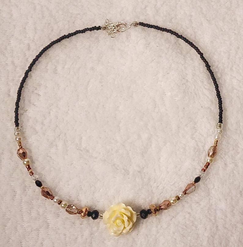 Rose Gold Rose Choker Necklace Black Beige