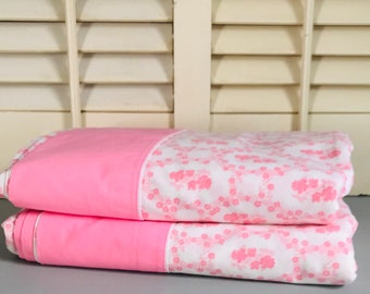 Vintage Pink Flat Sheets Set of Two Queen Size Cannon Featherlite USA