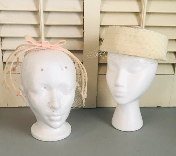 Vintage Cream and Peach Cocktail Hats Set of Two T