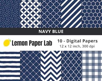 Navy Blue Digital Paper for Scrapbooking