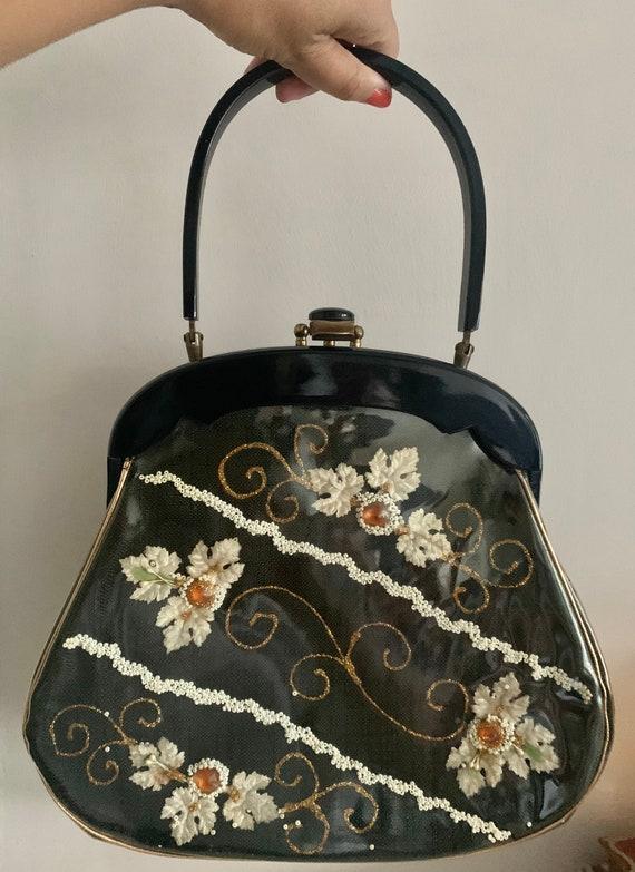 Vintage 1950s RIALTO black lucite evening bag purs
