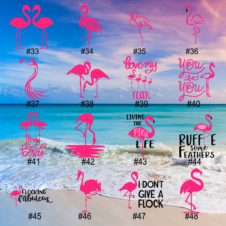 tumbler laptop vinyl decal perfect for car window locker door or just about any flat and shiny surface. FLAMINGOS #17-32