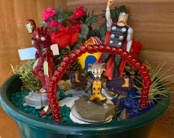 Kids Fairy Garden Kit with toys from Marvel Iron Man Thor & Rocket Magic Garden Unique Kids Gift Toy Superhero Avengers