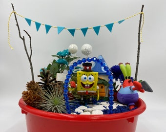 Fairy Garden Kit with toys from Spongebob Magic Garden Unique Kids Gift Nature Toy Spongebob and Mr. Krabs