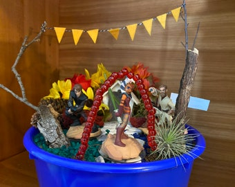 Kids Fairy Garden Kit featuring Star Wars toys Magic Garden Unique Gift Nature Obi Wan Anakin Skywalker Jar'Kai