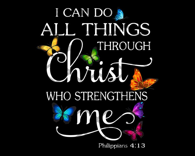 I Can Do All Things Through Christ Butterfly Art  Religious image 0