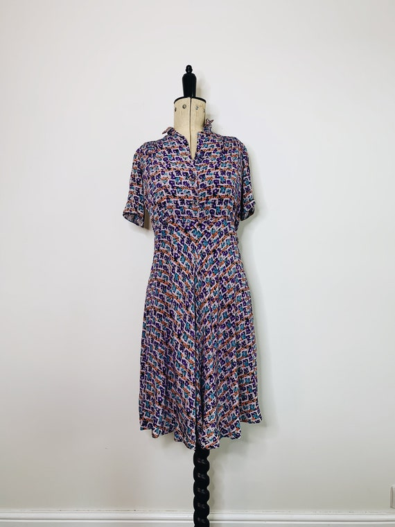 Crepe flower tea dress