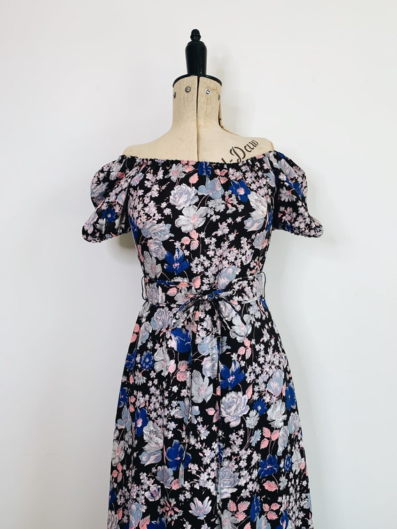 70s Prairie floral belted dress
