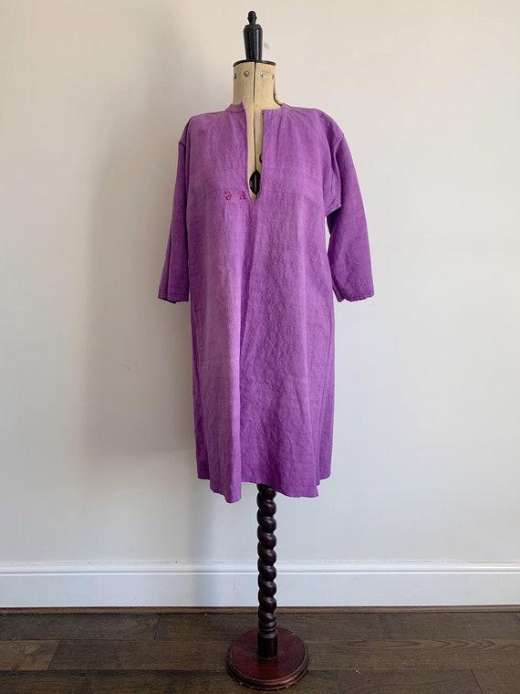 Antique french linen nightshirt dress