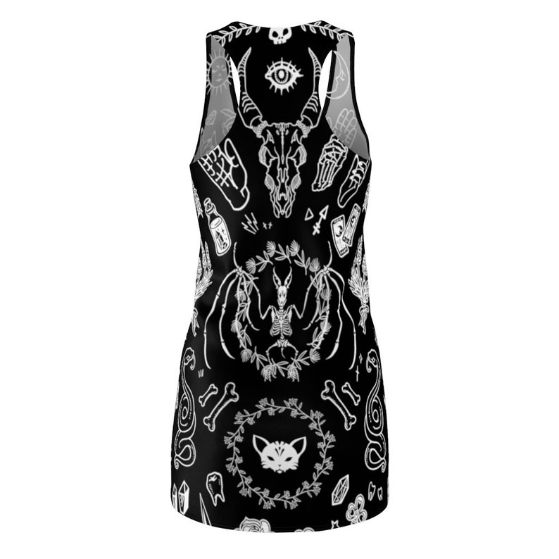 Witchy Tank Dress Gothic Witchcraft Wicca Pagan Sorceress Skulls Skeletons Black Cat Sphynx Spooky Halloween Sleeveless Racerback Dress