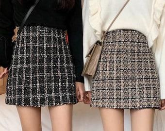 Parisian Style Tweed Black Khaki Plaid Pencil Skirt | Retro Vintage Trends | Cute Aesthetic Fashion | Pencil Skirt Gingham Skirt Mini Skirt