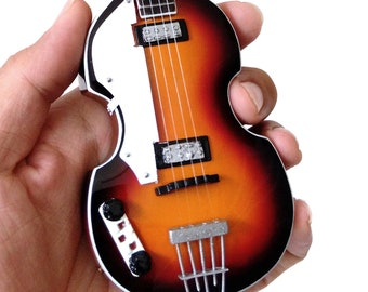Paul McCartney The Beatles Hofner Violin Bass Ed Sullivan Miniature Guitar Free Ship , Cake Topper , Trophy