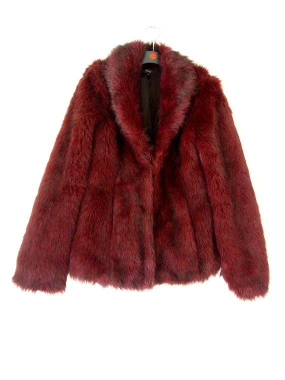 Red fake fur coat size 10