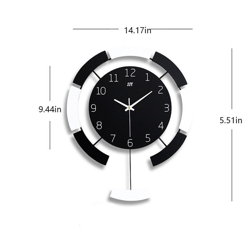 Black and White Pendulum Clock,Minimal Oversize Wall Clock,Personalized Number Silent Clock,Modern Art Decoration Clock,Iron Wall Clock