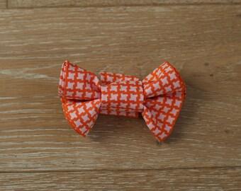 Biscuit Brown /& Orange Birdseye Check Bow Tie