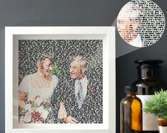 """Personalised Photo Lyric Print 8"""" x 8""""   Wedding Photo   Anniversary Gift   Song Lyrics & Memory Gifts   Custom Music Gift  """