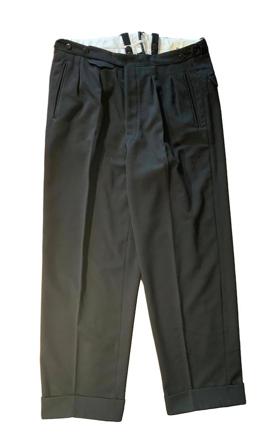 vintage original 1930s-40s black wool high waist t
