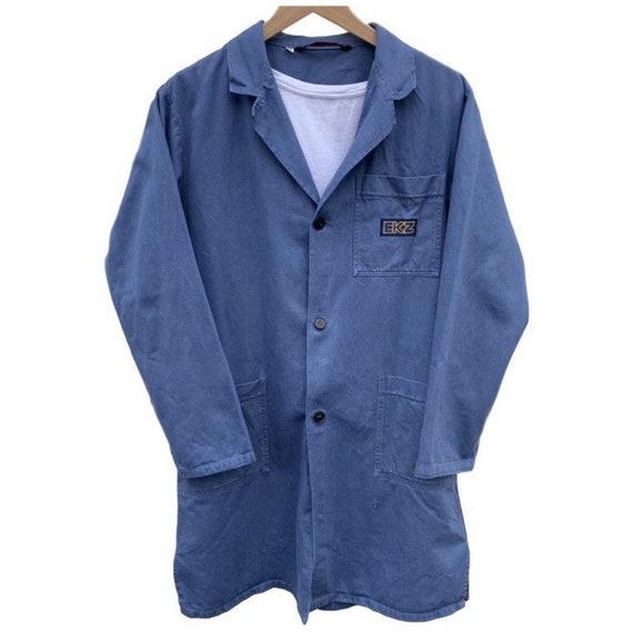 French vintage workwear porters jacket indigo 100… - image 5