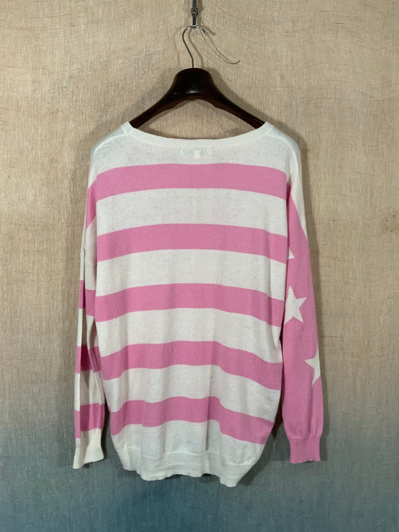 cashmere pullover jumper with star motif. Vintage pink and cream striped long sleeve