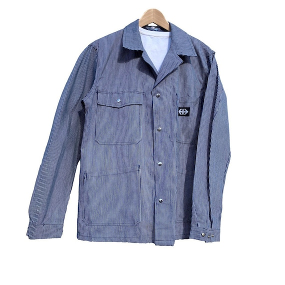 French workwear overshirt/jacket in striped indigo