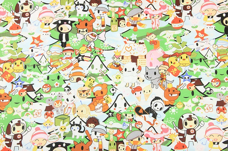 by the 12 yard DIY Fabric Masks Sewing Materials TOKIDOKI Fabric Christmas Fabric Quilting 100/% Cotton Fabric Cartoon Printed Fabric