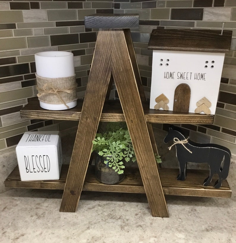 Mini Wood Ladder Shelf Tiered Tray image 0