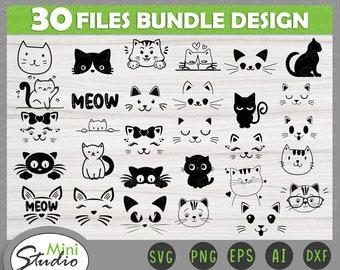 Cat Face Svg Bundle | animal svg|pet svg| Funny Cat SVG| Kitten SVG| Cat lady svg| cat lover svg| cats svg| kitty svg| commercial use svg