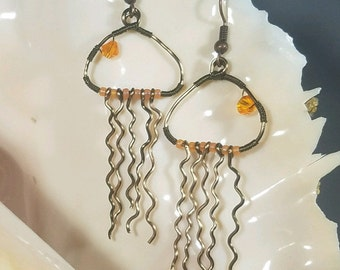 Dangle Earrings, Jewelry, Earrings, Beach Wedding, Jellyfish Earrings, Beach Earrings, Nautical Earrings, Jewelry For Her, Nautical Jewelry