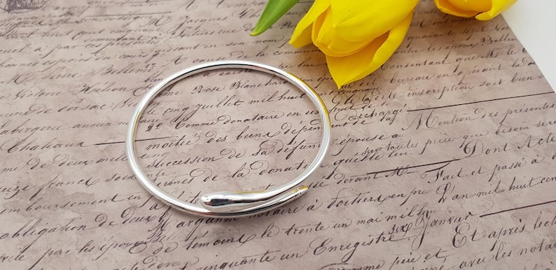 Silver adjustable bangle for women thin silver bangle Snake Cuff Sterling Silver Bracelet adjustable silver bangle small bangle