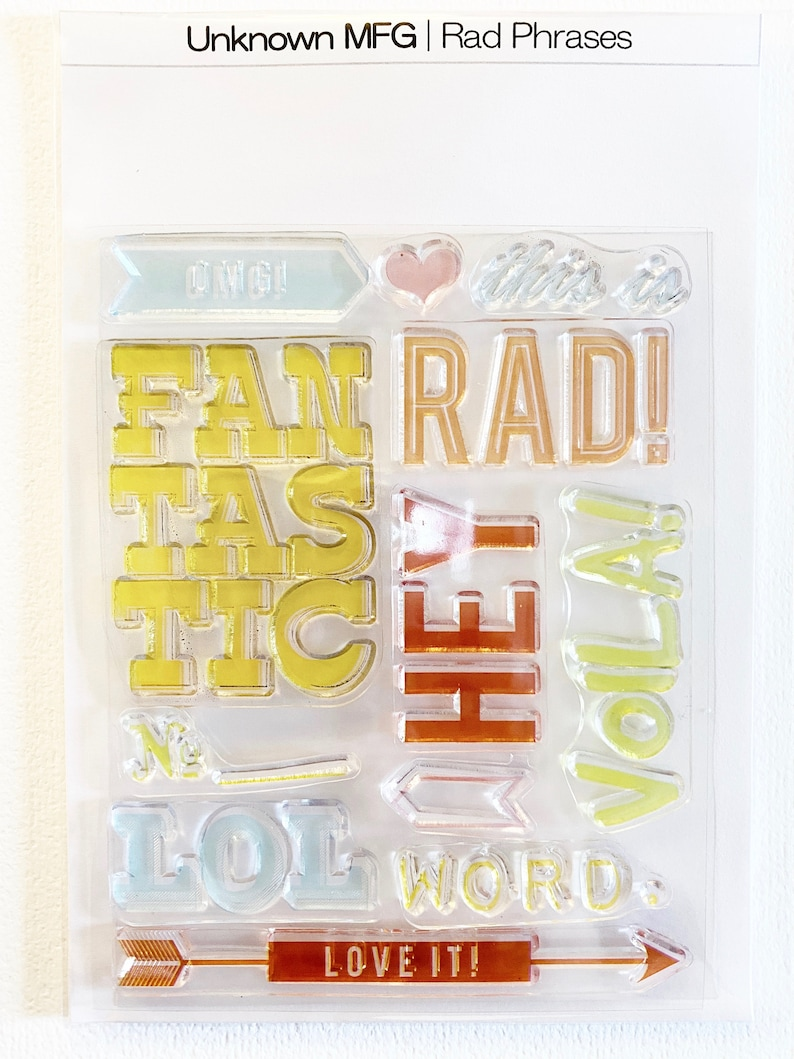 unknown manufacturer Rad Phrases 4x5 Clear Stamp Set