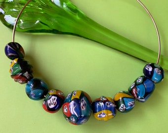 Vintage Millefiori Glass Beads X285 Large Hole beads 9 Large FACE Glass Beads