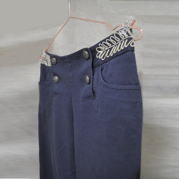 40s-Inspired Sailor Nautical Trousers Embroidered