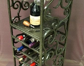 shabby black scroll metal wine bottle and glass holder French vintage bottle rack