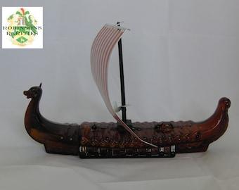 Rare Brown Glass Vintage Retro Avon Viking Long ship Warship Aftershave Decanter / Bottle Empty