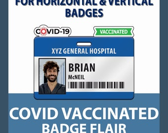 Covid-19 Vaccinated Flair for Plastic Badge Buddy and IDs - Horizontal ID or Vertical ID