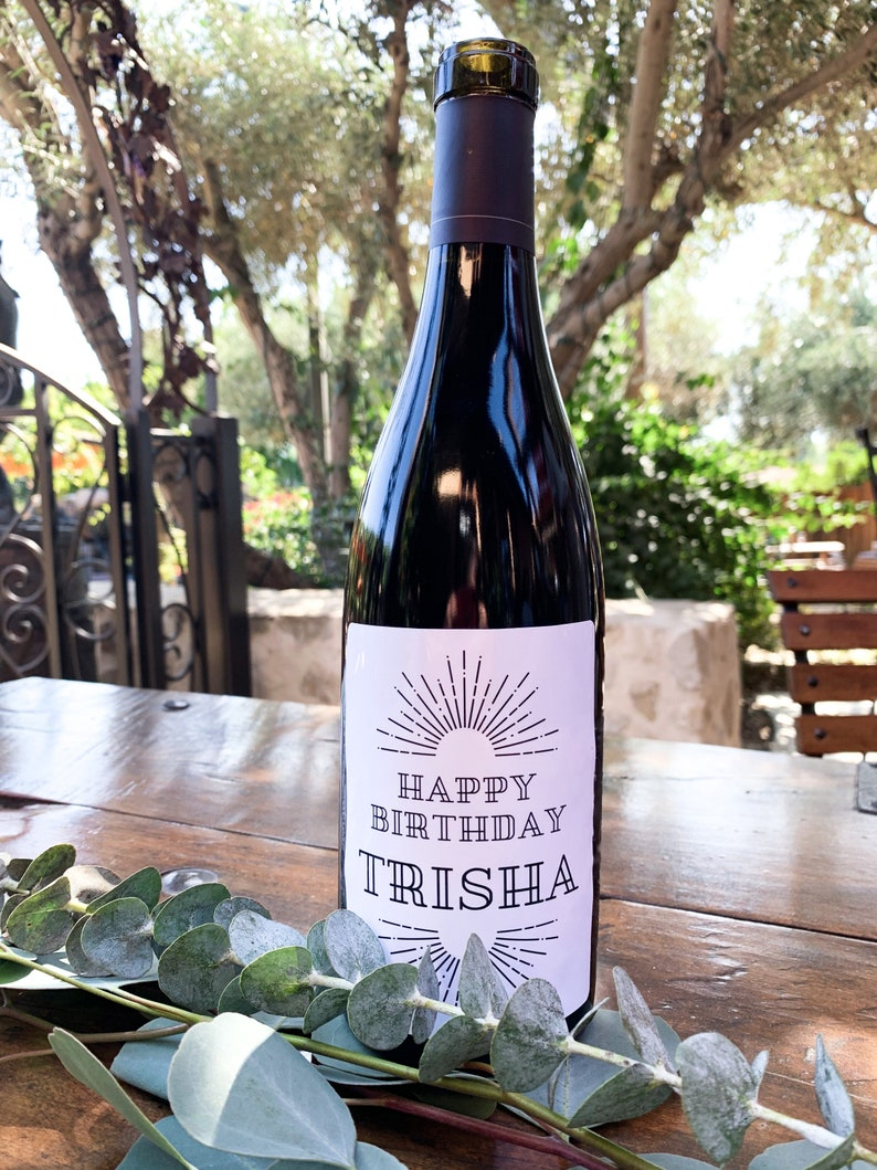Wine Label /'Happy Birthday/' Custom